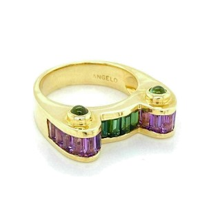 Angelo 14k Yellow Gold Amethyst & Green Tourmaline Ring