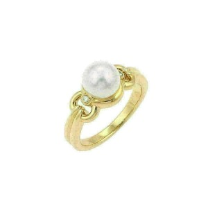Mikimoto Akoya Pearl & Diamond 18k Yellow Gold Cocktail Ring