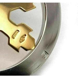 Bvlgari Tondo Snow Flake Round  18k Yellow Gold & Stainless Steel Pendant