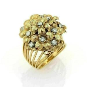 Estate Diamonds Spring Flowers 18k Yellow Gold Cluster Ring