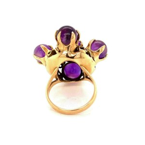 Vintage Cabochon Amethyst 14k Yellow Gold Cocktail Ring