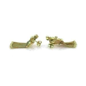 Victorian 14k Yellow Gold Pearls Enamel Fancy Multi Tassel Dangle Earrings