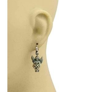 Kieselstein Cord Angel w/ball Hook Sterling Silver & 14k Gold Dangle Earrings