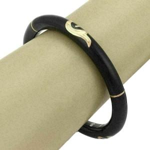 Nouvelle Bague Black Enamel 18k Pink Gold/Sterling Bangle Bracelet Rt. $1,950