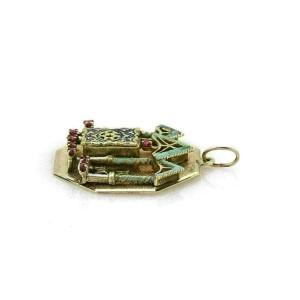 Vintage Ruby Enamel 14k Yellow Gold Open & Close Judaica Torah Pendant