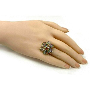 Diamond Multicolor Sapphire 18k Yellow Gold Floral Ring