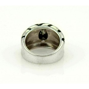 H. Stern Diamonds & Enamel Striped Design 18k White Gold Band Ring