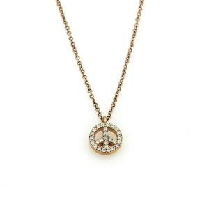 Tiffany & Co. Metro Diamond Peace Sign 18k Rose Gold Pendant