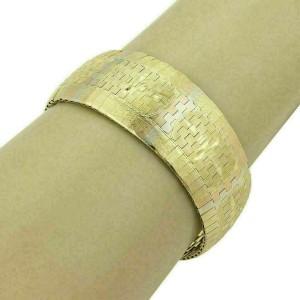 Estate 18k Tricolor Gold Diamond Cut Design Graduated Flex Bracelet