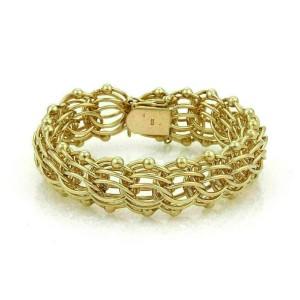 Multi-Ring 20mm Wide 14k Yellow Gold Charm Bracelet