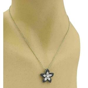 Black & White Diamond 14k White Gold Flower Pendant Necklace