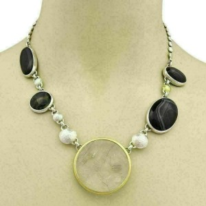 Gurhan Galapagos Rutilated Quartz Spiderweb Obsidian Sterling Necklace