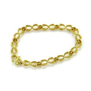 Double Wishbone 24k Gold Textured Link Bracelet