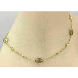 "Di Modolo Smokey Quartz 18k Yellow Gold Beaded Necklace 18"" Long"