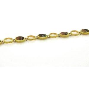Agate Circles 18k Yellow Gold Link Bracelet