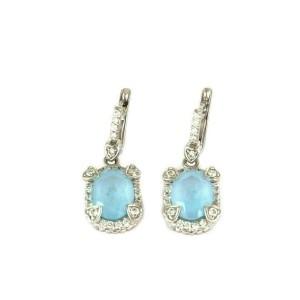 Judith Ripka Diamonds Frosted Blue Topaz 18k White Gold Dangle Earrings