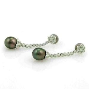 Estate Diamond Tahitian Oval Pearl 18k White Gold Floral Dangle Earrings