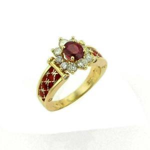 Korloff  Diamonds & Ruby Enamel 18k Yellow Gold Cocktail Ring