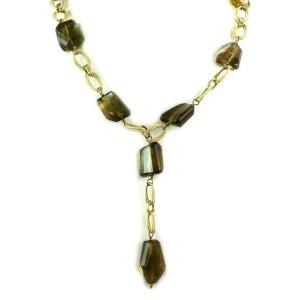 Smoky Quartz Fancy Oval Link 14k Yellow Gold Lariat Necklace