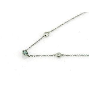 Tiffany & Co. Peretti Platinum Aquamarine Diamond By The Yard Necklace