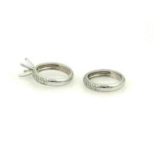 Platinum 2.30ct Diamond Set of Engagement Semi Mount & Wedding Band Ring