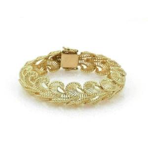Vintage 14k Yellow Gold Fancy Open 15mm Wide Swirl Link Bracelet