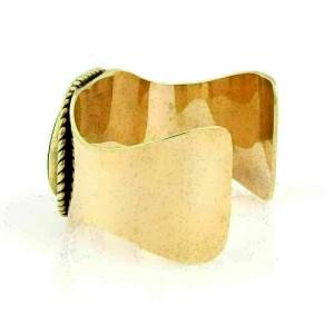Estate 14k Yellow Gold Oval Tiger's Eye Large Cuff Bracelet