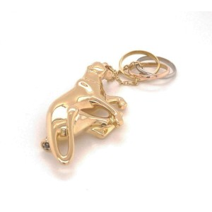 Cartier Trinity 18k Tri-Color Gold 3D Panther & Mini Ring Dangle Charm Brooch