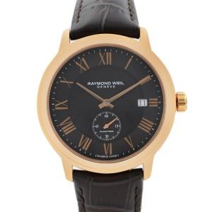 Raymond Weil Maestro Rose Gold PVD Steel Black Dial Mens Watch 2238-PC5-00209