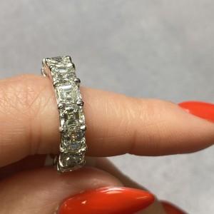 Platinum Asscher Cut Diamond Eternity Wedding Band Ring 8.13cttw Size 6
