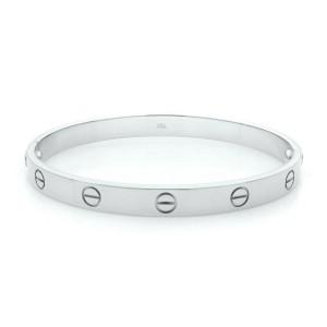 Cartier Love 18K White Gold Bracelet Old Style Size 18