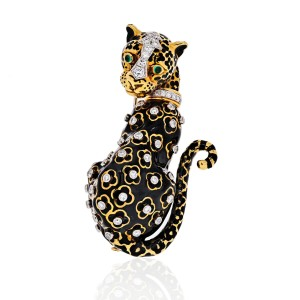 David Webb Vintage 18K Yellow Gold & Platinum Leopard Black Enamel Brooch