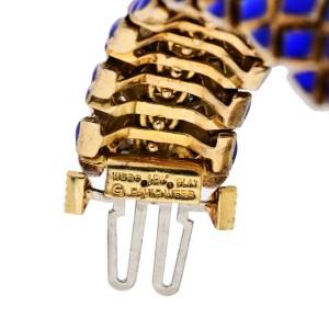 David Webb Platinum & 18K Yellow Gold Blue Enamel with Diamond Bracelet 2.30cttw