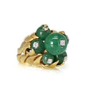 David Webb 18K Yellow Gold Green Chrysoprase and Diamond Estate Ring Size 8.5
