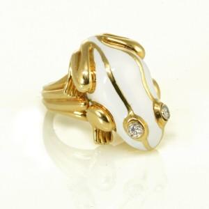 David Webb Platinum & Yellow Gold White Enamel Diamond Eyes Frog Ring Size 5.5