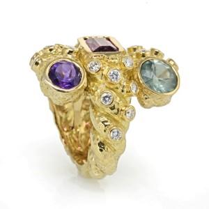 David Webb 18K Yellow Gold Multi Gemstones and Diamond Wide Band Ring Size 7