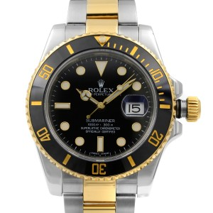 Rolex Submariner 18k Yellow Gold Steel Black Dial Automatic Men Watch 116613BKDO