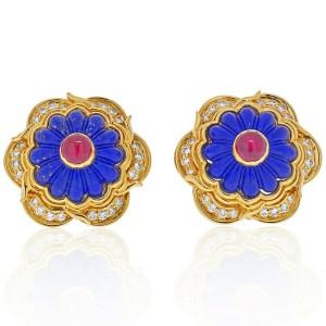 Harry Winston 18K Yellow Gold Lapis Ruby Diamond Earrings 0.43cttw
