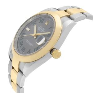 Rolex Datejust 18K Gold Steel Wimbledon Grey Dial Mens Watch 126303GYRO