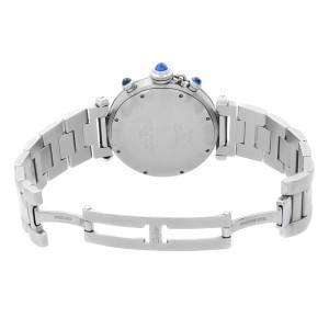 Cartier Pasha 38mm Chronograph Steel Beige Dial Quartz Mens Watch 1050-1