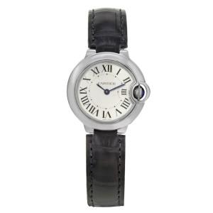 Cartier Ballon Bleu Steel Silver Guilloche Dial Quartz Ladies Watch W69018Z4