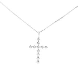 Rachel Koen 14K White Gold Diamond Cross Pendant 0.37cttw