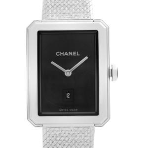 Chanel Boyfriend 27mm Tweed Motif Steel Black Dial Quartz Ladies Watch H4878
