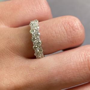 Rachel Koen 14K White Gold Diamond Half Way Band Size 6.5 1.16cttw