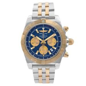 Breitling Chronomat 44 18K Yellow Gold Steel Blue Dial Mens Watch CB0110121C1C1