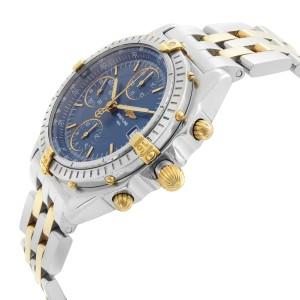 Breitling Chronomat 18k Yellow Gold Steel Blue Dial Automatic Men Watch B13050.1
