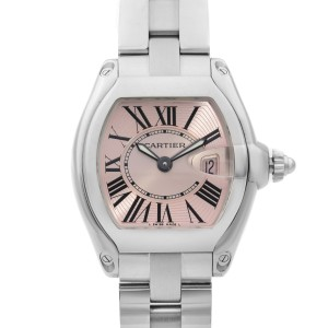 Cartier Roadster 31mm Stainless Steel Pink Dial Quartz Ladies Watch W62017V3
