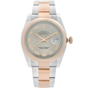 Rolex Datejust 36 18K Rose Gold Steel Gray Dial Automatic Mens Watch 116201SRO