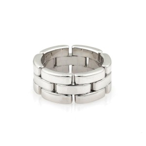 Cartier Maillon Panthere 18k White Gold 8mm Band Ring Size 49-US 4.75