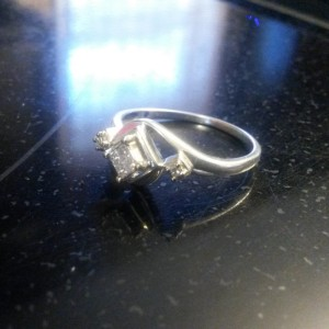 Sterling Silver & Princess Cut Diamond Engagement Ring